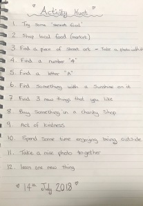 Family fun activity scavenger list