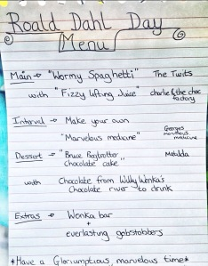 Roald Dahl Day menu