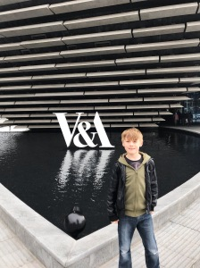 My son outside the V&A Museum Dundee