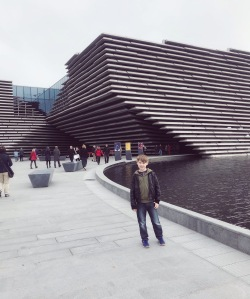 My son outside the new V&A Museum Dundee