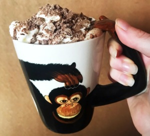 Hot chocolate in a monkey mug