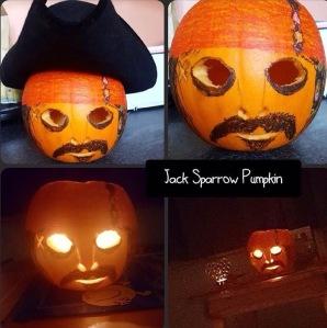 Jack Sparrow painted Halloween pumpkin design