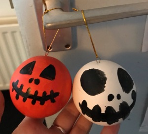 Paint your own Halloween decorations - Pumpkin and Jack skeleton