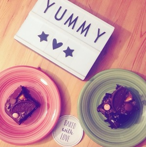 Fairy Bakes loaded chocolate brownie plated slices