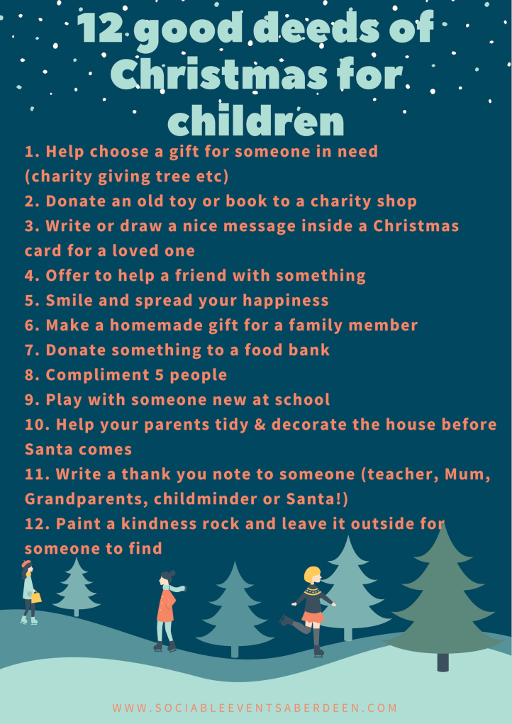 My list of 12 good deeds for children at Christmas