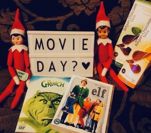 Elf on the shelf suggesting a movie day