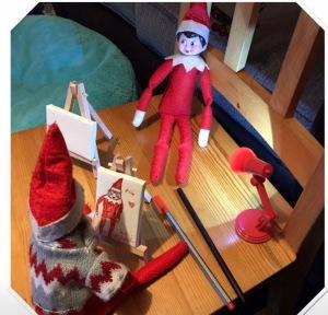 Elf on the shelf idea - canvas drawing