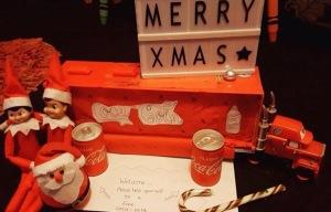 Elf on the shelf idea - Coca Cola truck