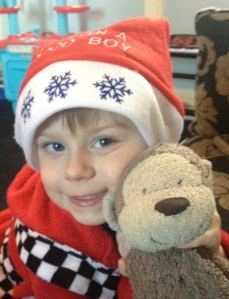 Happy little Nathan at Christmas