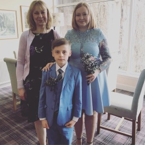 Louise and Nathan with Louise's mum - family photo