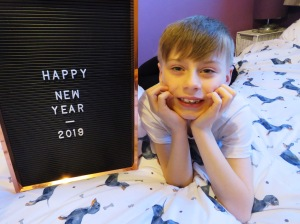 New Year 2019 - Nathan with a new year sign